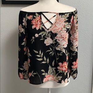 Charlotte Russe Floral Black Blouse Sz S